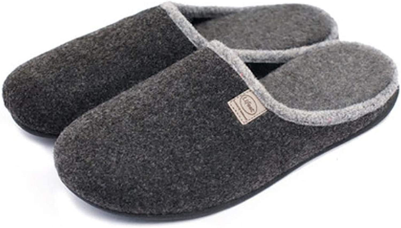 Autumn Winter Men's Mute Home Woolen Cloth Slippers Baotou shoes, bluee, 39-40 (color   Black, Size   39-40)