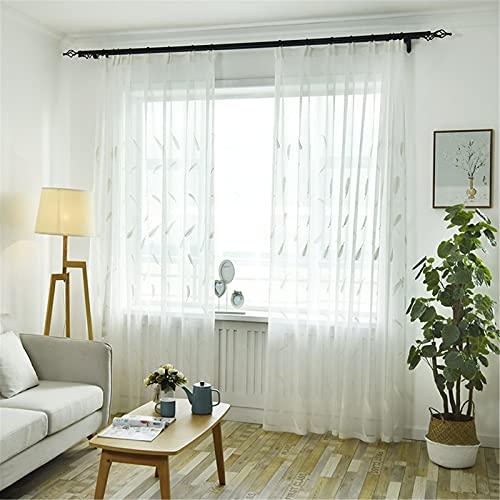 FACWAWF Hogar Simple Pequeña Pluma De Algodón Bordado De Hilo Dormitorio Sala De Estar Balcón Estudio Semi-Cortinas Opacas 300x270cm(2pcs)