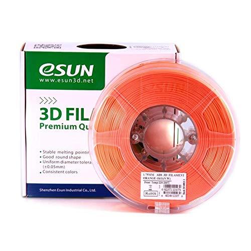 eSun Filamento ABS per stampanti 3D, 1 kg, 1,75/3,00 mm - disponibile in diversi colori, temperatura di stampa 220-260 ℃, per stampanti 3D come MakerBot, RepRap, MakerGear, Ultimaker, Mendel, Huxlep UP, Thing-o-matic, Universale, 1.75mm, Orange