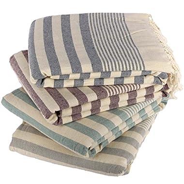 Clotho Towels Turkish Bath and Beach Towel Set of 4 Oversized Terry Peshtemal