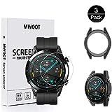MWOOT Compatible avec Huawei Watch GT2 46MM Écran Protecteur [2 Pièces] et Coque Protection en Silicone Noir, Anti-Rayures HD Protecteur en Verre Trempé Protége l'écran de Montre Protection