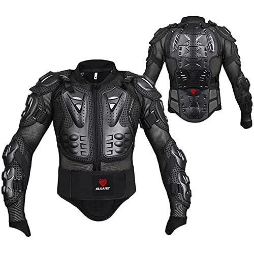 RLJqwad Chaqueta Protectora para el Cuerpo de la Motocicleta, Protector para Motocicleta, Armadura de Motocross, Ropa de Carreras, Equipo de protección, Cofre para Motocicleta Black-3XL