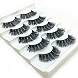 aliveGOT 3D False Eyelashes Full Strips Thick Cross Long Lashes Wispy Fluffy Eye Makeup Tools 5 Pairs