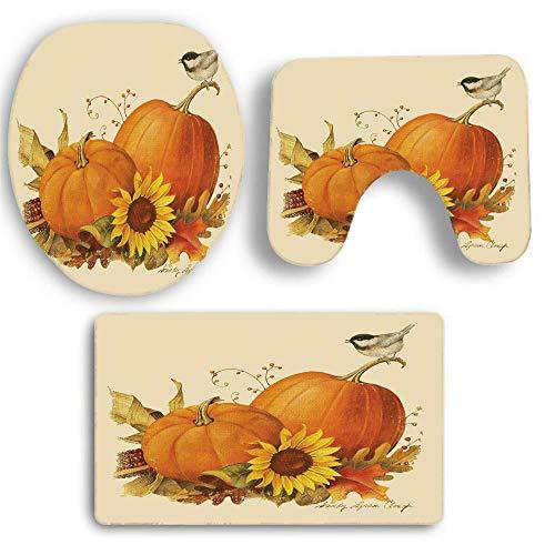 ODJOY-FAN Halloween Toilette Teppich 3-Teiliges Set,Halloween Bad Rutschfest Sockel Teppich + Deckel Toilette Abdeckung + Bad Matte Einstellen Kürbis Gedruckt Teppich (A,1 PC)