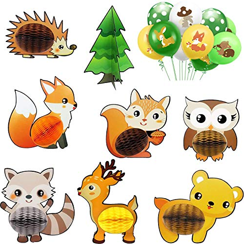 Woodland Animals Honeycomb Centerpieces 3D Table Toppers for Woodland Baby Shower Birthday Decorations Wild One Camping Party Supplies(Free 10 Pieces Latex Balloons)