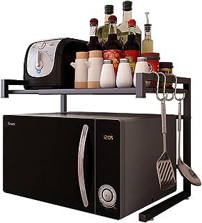 Vinteky Support Micro Onde, Étagère de Cuisine Extensible pour Four à Micro-Ondes Étagere Rangement Cuisine 55cm(Max) Meub...