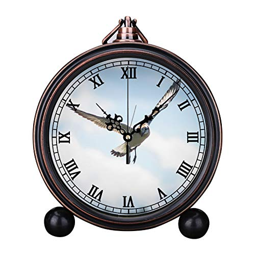 Europese retro wekker ronde stille kwartsklok eenvoudig hoofdeinde digitale wekker vakantiegeschenk klok wekker foto een vliegende lachende meeuw