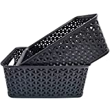 2 Pack Plastic Storage Baskets Black Weave Storage Baskets Organizer,Organizer Small Plastic Baskets for Kitchen,Home and Office