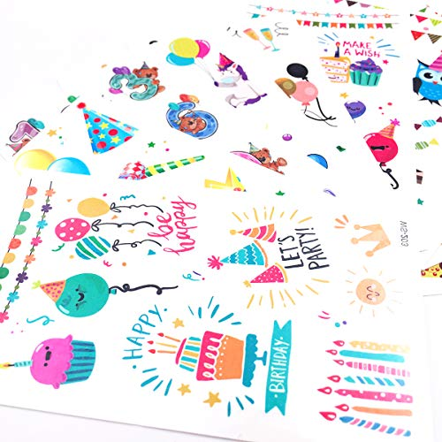 Happy Birthday Woodland Animal Temporary Tattoos(130Pcs) Summer Waterproof Birthday Stickers for Kids, Birthday Baby Shower Party Supplies Decoration for Kids and Adults