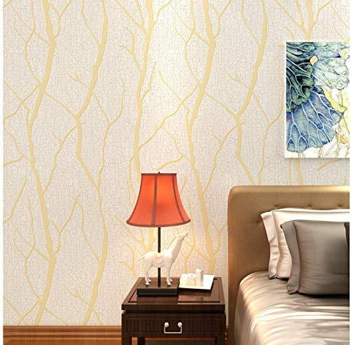 3D Wallpaper Non-Woven Flocking Branch Stripes Wallpaper Light Yellow Wallpaper Applicable to Living Room, TV Background Wall Home Decor 9.8mx0.53m