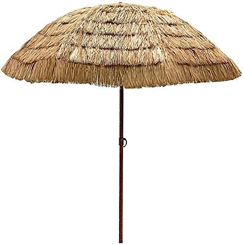 WSDSX Parasoles Jardin,Paraguas Tiki con Techo de Paja de 45 ° con inclinación de 6.5 pies, sombrilla de Patio de Estilo Tropical, sombrilla de Playa Redonda Cubierta con sombrilla de Paja para ex