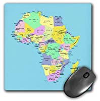 3dRose Mouse Pad Colorful Map of Africa On Blue Background - 8 by 8-Inches (mp_219448_1) [並行輸入品]