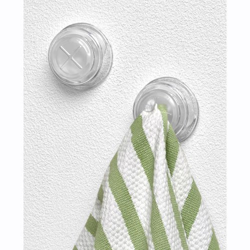 "Spectrum Adhesive Towel Grabber Set of 2 Hooks (Clear) (1"" h X 2.25"" w X 1.5"" d)"