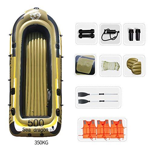 WNN Flotador Inflable Barco Serie Canoa del kajak Inflable Agua Pesca 5 Persona ambientado con remos (Ejército Yellown) URG