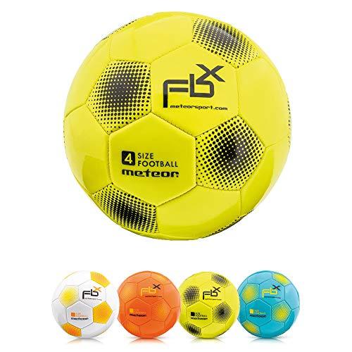 Meteor Pallone da Calcio Cucito per Bambini Adolescenti e Adulti 5 4 3 1 Dimensioni e 4 Colori Perfetto per Allenamento, Giochi Ricreativi (#1, Giallo)