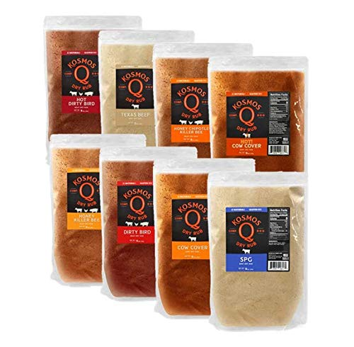 Kosmos Q BBQ Rub Variety 8 Pack | Great on Brisket, Steak, Chicken, Ribs & Pork | Best Barbecue Rub | Meat Seasoning & Spice Dry Rub | 8 Flavors | 1 Lb Bag of Each Flavor Blend