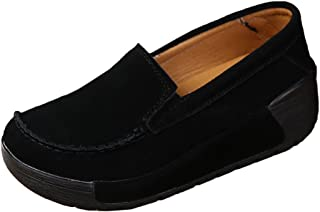 7101edf7f3a Z.SUO Women Platform Loafers Comfort Suede Moccasins Lace Up Low Top Wedge  Driving Shoes