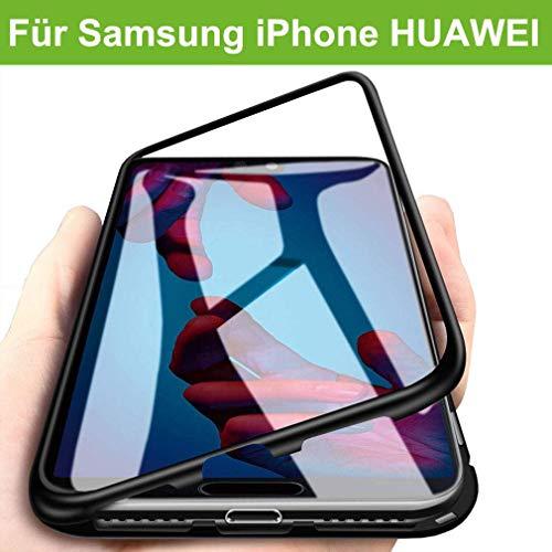 AURSEN Cubierta Funda Magnético, Carcasa Ultrafina, Tecnología de Adsorción Magnética, Parte Trasera de Vidrio Templado Transparente Case Cover para iPhone X/XS
