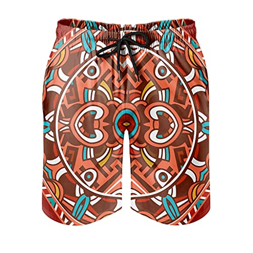 Huffle-Pickffle Antique Inkanmayaztec Men's Swimming Trunks Comfortable Various Designs - Shorts for Cycling - White - XXXXL
