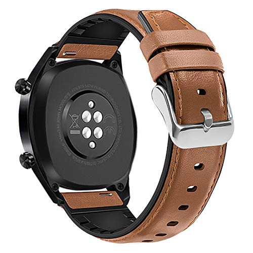 Coholl Fit for Huawei Watch GT Bands 46mm, Samsung Galaxy Watch(46mm) Bands,TicWatch Pro 22mm Quick Release Genuine Leather Silicone Hybrid Watch Band