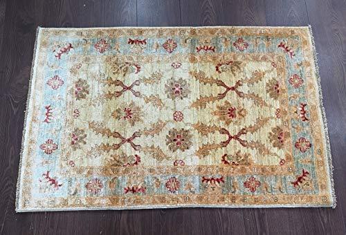 Alfombra de lana afgana, 100% tejida a mano (45RCM0003) (3.11x2.5 (pies) 119x77 (cm))