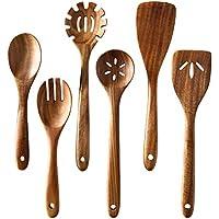 6-Piece Tmkit Wooden Natural Nonstick Cooking Utensils Set
