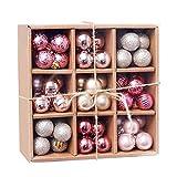 Jingyu Juego Adornos Bolas Navidad 99 CT 1,18 & # 34;Decoración Bolas Colgantes árbol Navidad inastillable Regalo año Nuevo decoración Vacaciones bo30 mm (Rosa)