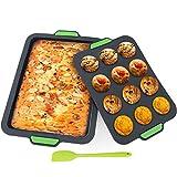 Juego de moldes de silicona para 12 cupcakes y pasteles, molde para muffins y molde para hornear con espátula, antiadherente y fácil de limpiar, pastel de brownie, pan horneado