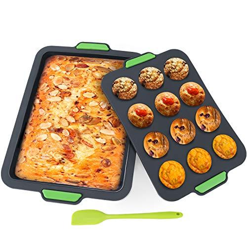 Aukiita Küche 12 Tassen Silikon-Muffinform und große Backform, Muffinform und Backform Set mit Spachtel, Antihaftbeschichtet, geeignet für Backofen, Mikrowelle, Kühlschrank