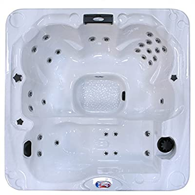 American Spas AM-730LM 6-Person 30-Jet Bench Spa with Backlit LED Waterfall