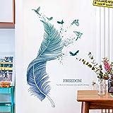 Sayopin Pegatinas de Pared, Etiqueta de la Pared de Plumas Como Decoración de la Pared Para Dormitorio Sala de Estar Cuarto de los Niños, Arte de Bricolaje Hogar Pegatina Mural, 71x 123cm