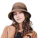 Comhats Womens 100% Wool Felt Bowler Derby Church Party Dress Hat 1920s Vintage Cloche Bucket Fedora Winter Wedding Fashionable Brown