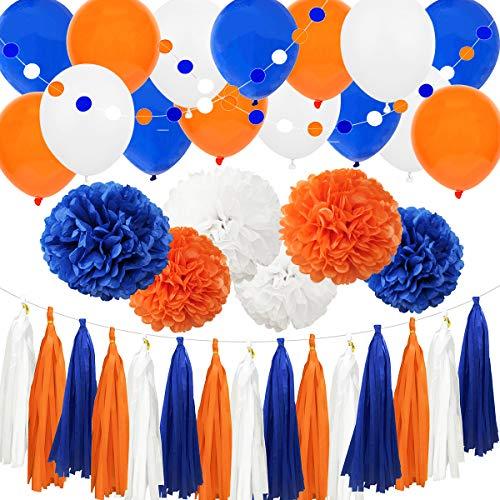 Carnival Navy Blue Orange White 38pcs American Birthday Bachelorette Baby Shower Wedding Party Decoration Kit - - 12' 10' Tissue Pom Pom, 12' Latex Balloon, Paper Tassel, Circle Dot Garland