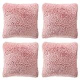 KONUNUS Juego de 4 fundas de cojín esponjosas de piel sintética de felpa, para salón, sofá, dormitorio, color rosa,...