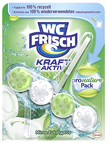 WC FRISCH Kraft Aktiv Pro Nature Minze und Eukalyptus, WC-Reiniger und Duftspüler, 1 Stück