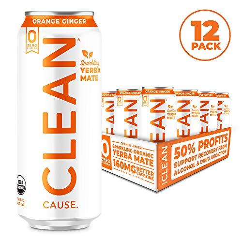 Orange Ginger Organic Sparkling Yerba Mate Tea - Zero Calorie, Zero Sugar, Zero Guilt, (160mg Caffeine), 16oz cans, 12-pack - CLEAN Cause - 50% Profits Support Alcohol & Drug Addiction Recovery