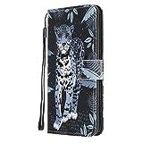 Nadoli Colorato Dipinto Leopardo Disegno Custodia in Pu Pelle Chiusura Magnetica Funzione Stand Cinturino da Polso Sottile Portafoglio Cover per Huawei P40 Lite