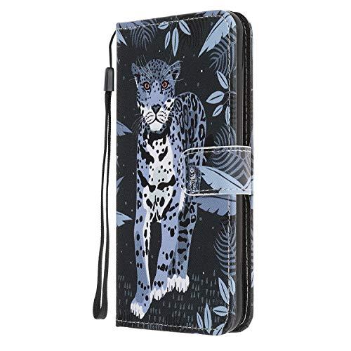 Nadoli Coloré Peint Léopard Désign Housse Coque en Cuir avec Magnetique Premium Fonction de Support Flip Case Portefeuille Etui pour Huawei P40