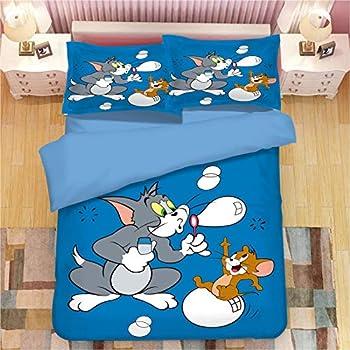 Tom Jerry Bedding Set Bed Twin Set for Girls Kids Boys Tom Jerry Blue Duvet Cover Duvet Case Comforter Cover