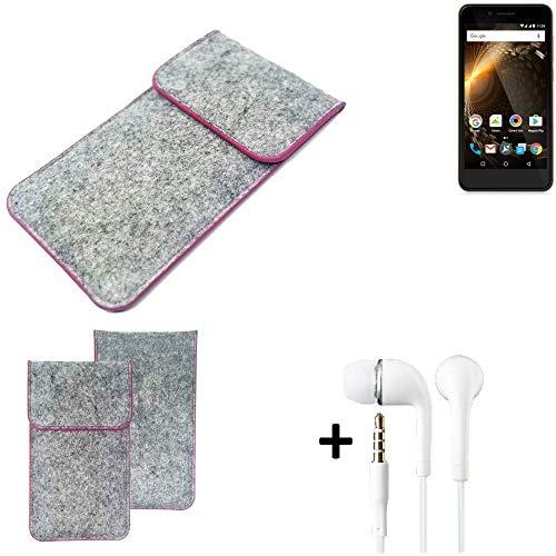 K-S-Trade Filz Schutz Hülle Für Allview P6 Energy Mini Schutzhülle Filztasche Pouch Tasche Hülle Sleeve Handyhülle Filzhülle Hellgrau Pinker Rand + Kopfhörer