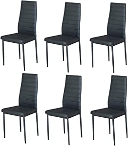 IDS Home 7 Piece Clear Glass Top with Faux Marble Decor Counter Table Set with 6 High Back PVC Leather Support Chairs for Dining Room, Living Room, Kitchen - Black