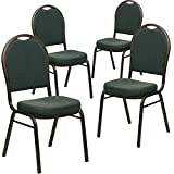 Flash Furniture 4 Pack HERCULES Series Dome Back Stacking Banquet Chair in Green Patterned Fabric - Gold Vein Frame