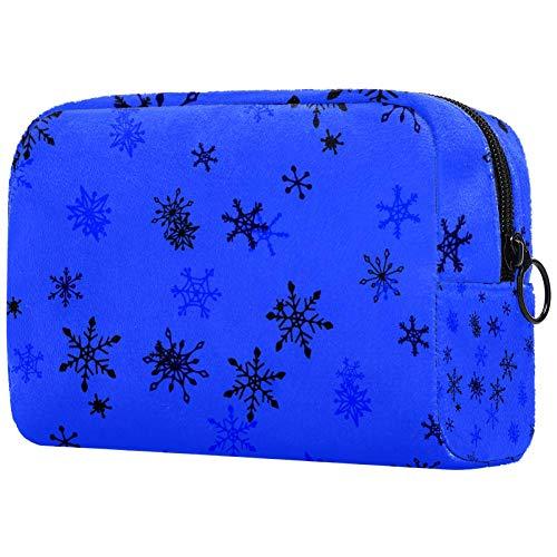 Bolsa de brochas de maquillaje personalizable, bolsa de aseo portátil para mujeres, bolso cosmético, organizador de viaje, encantador copos de nieve infantiles.