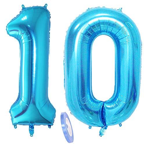 2 Luftballons Zahl 10, Nummer 10 Luftballon Blau Mädchen Junge Jungs,40