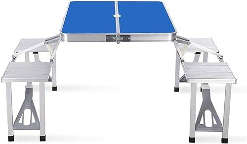 Fournitures de camping portatives en plein air Table se pliante forte de chevalet avec 4 chaises à l'intérieur du tableau en aluminium se pliant de but multi intérieur et extérieur