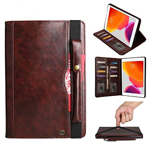 Case for iPad 8th Gen 10.2inch 2020,iPad 7th Gen 2019 Case,EC-Touch Premium Solid Colors Premium Leather Smart Folid Cover Case with Anti-Silp Belt, Pencil Holder (Brown)