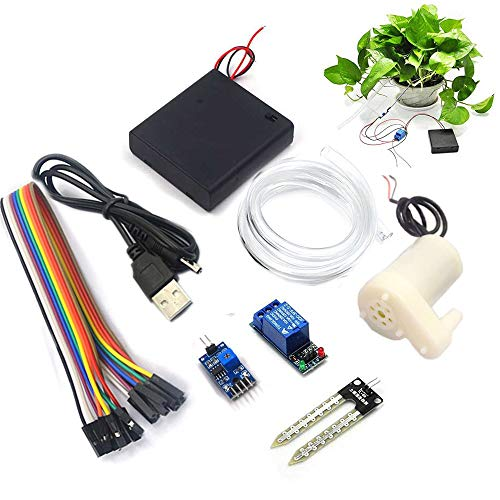 RUNCCI-YUN Automatic Irrigation DIY Kit Self Watering System,with Soil Moisture Sensor 5V Relay Module and Water Pump+0.5M Vinyl Tubing for Arduino Garden DIY Kit
