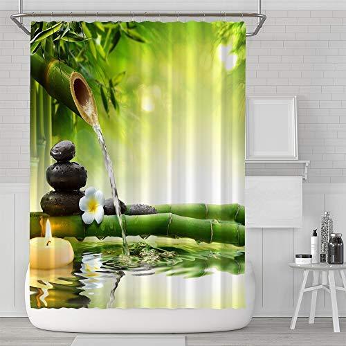 Aitsite Cortina de Ducha Impermeable a Prueba de moldes Resistente al baño Cortina Lavable Baño Cortina Tela de poliéster con 12 Ganchos 180x180cm Bambú Verde
