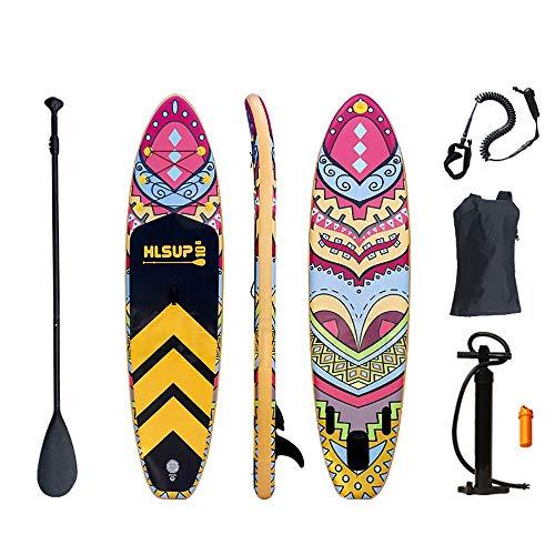 NgMik Tabla De Surf Inflable Modelo Colorido Inflable Sup Stand Up Paddle Board Conjunto De Paddle, Bomba, Mochila Y Correa Estable (Color : Multi, Size : 320x80x15cm)