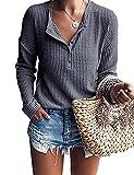 WNEEDU Women's Long Sleeve Waffle Knit Tunic Blouse Casual Button Up Henley Shirts Plain Tops Dark Gray M
